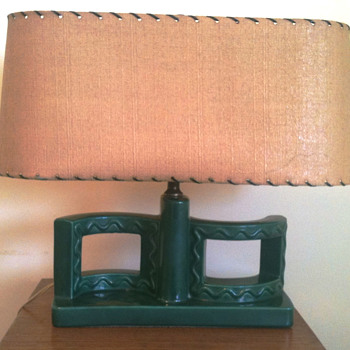 Vintage green pottery lamp -- western theme? - Lamps