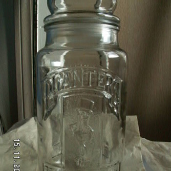 Vintage Planters Peanut Jar  ~75th Anniversary Embossed Jar & Lid -1981 - Advertising