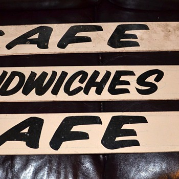 Cafe and Sandwiches - vintage signs from a barn - Signs