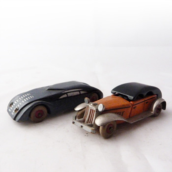 Wooden Art Deco toy cars, Czechoslovakia, 1930s.