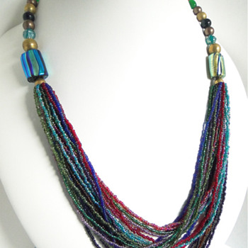 Venetian? foil beads, glass seed beads, copper, plastic,and glass bead necklace - Costume Jewelry