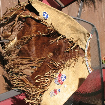 African beaded ceremonial calf skin hair on hide skirt with tail possibly Mangati