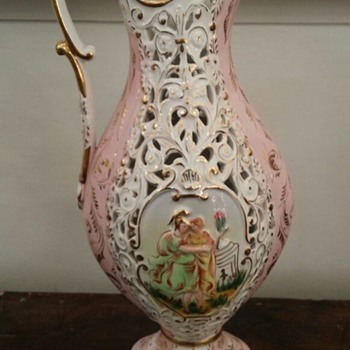 Capodimonte Pitcher with Gold Writing Underneath