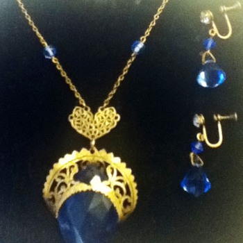 Blue and Gold Necklace and Earring Set - Costume Jewelry