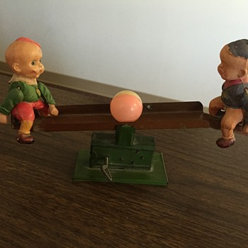 Celluloid Tin Seesaw with Ball Made in Japan - Toys