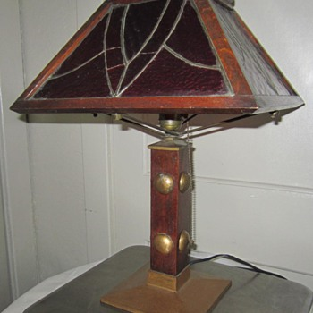 Antique Arts & Craft Mission Table Lamp (1904-1910) - Arts and Crafts