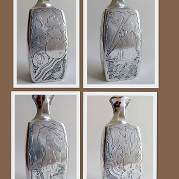 Bohemian or French glass perfume bottle, entirely covered w. sterling silver