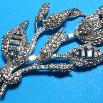 Large Pot Metal & Rhinestone Flower Spray Brooch - Costume Jewelry