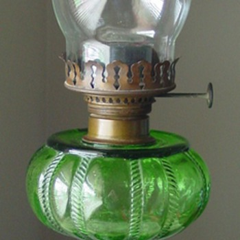 Green Glass Oil Lamp ~ Unidentified - Lamps