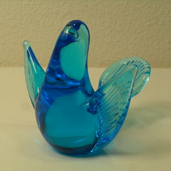 FM Konstglas Spread Wing Blue Bird with Label - Art Glass