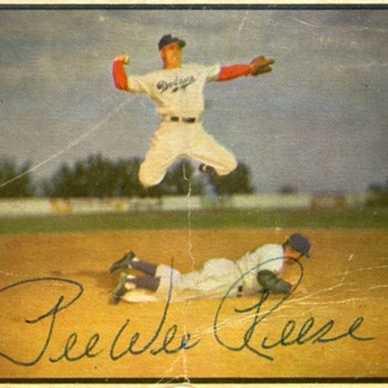 Peewee Reese Autographed Baseball Card - Bowman Color; 1953