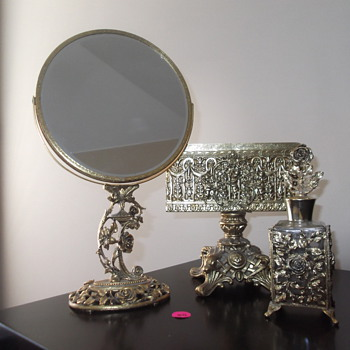 Matson stand mirror and perfume and Globe towel holder