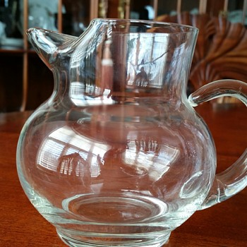 West Virginia Glass Speciality Crystal Jug 16oz Hand Blown Creamer c1948