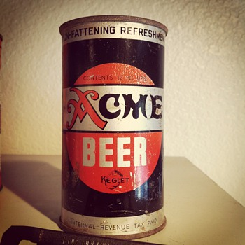 Acme Beer Keglet (flat top beer can)