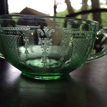 Green Depression Glass Double Handled Cups - Glassware