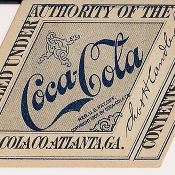 1917-1919 Coca-Cola Bottle Label - Chas H. Candler PT