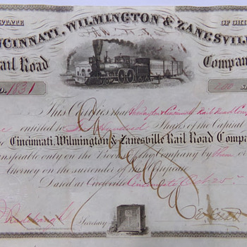 1856 Railroad Stock Certificate - Railroadiana