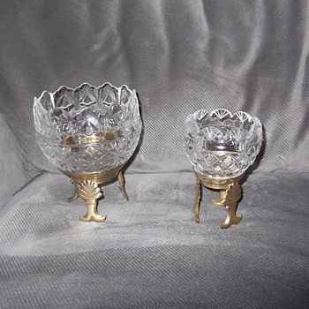Royal Irish crystal candle holders on Brass stands
