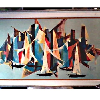 "Tugomir Huberger (Croatia 1931-2001) ""Mediterranee"" 27"" x 45"" Framed / Canvas Mounted on Art Board /Circa Mid-Century"