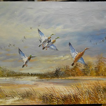 Nice Vintage Waterfowl Marsh Landscape Oil Painting  - Animals