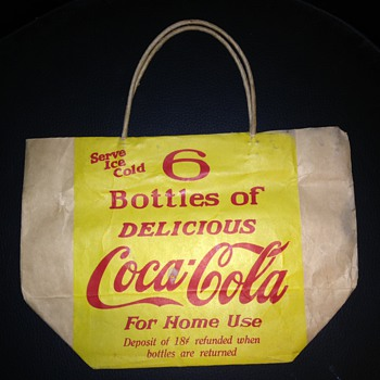 Coca Cola Paper Bag for 6 pack & old Bottle