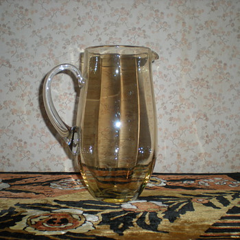 Bohemian optical iridescent pitcher around 1900. - Art Glass