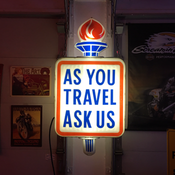 "50's-60's Standard Oil...""As You Travel Ask Us""... lighted sign with torch - Petroliana"