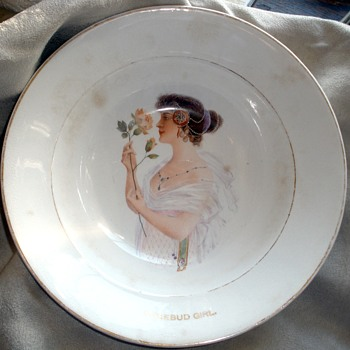 """Eat Rosebud Mush.""  1890's Harker Pottery Advertising Cereal Bowl  Feat.: The Rosebud Girl"