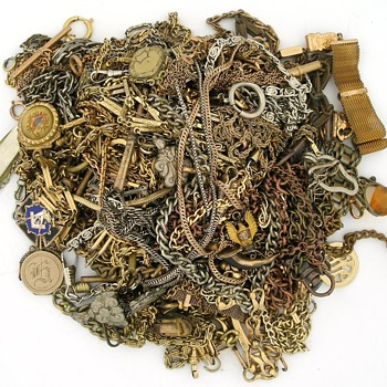 3lbs of Tangled Watch Fobs & Chains - Pocket Watches