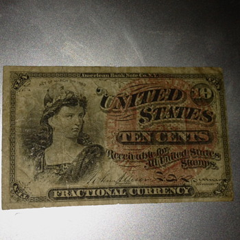 10 cents 1863 Fractional currency - US Paper Money