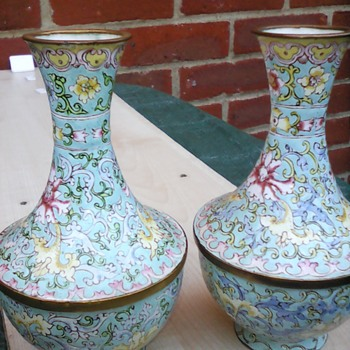 My cloisonne vases