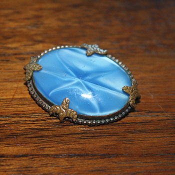 Moon Glow Glass Brooch and friend - Costume Jewelry