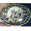 Victorian Intaglio Glass Oval on Brass Brooch /Reverse Painted Floral Design/Circa 19th Century