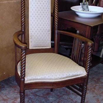 Antique Oak Barley Twist Chair Round Arms  - Furniture