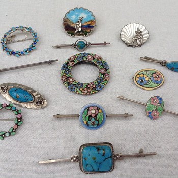 Collection of Bernard Instone Enamel Brooches  - Art Deco