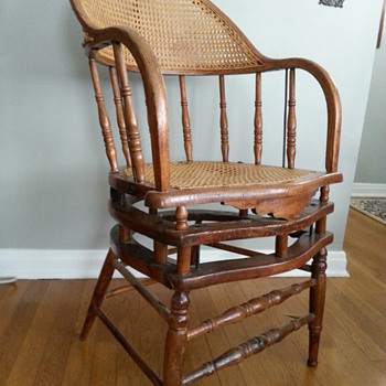 Caned oak fixed leg rocking chair