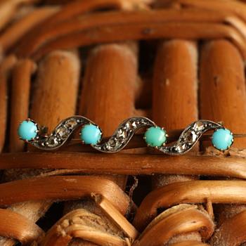 18 carat gold, diamond and turqoise ocean brooch - Fine Jewelry