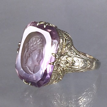 Art Deco Carved Intaglio Amethyst Etched 14k Ring