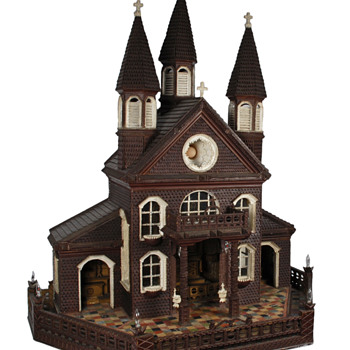 Tramp Art Model Church - Folk Art