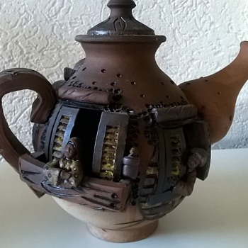 Interesting Terracotta Coffee  Pot With People Living Inside... - Art Pottery