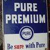 The Pure Oil Company...Pure Premium...Porcelain Pump Sign...1948...Three Colors