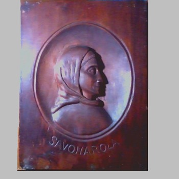 "Wood Panel Carving ""Girolamo Savonarola""/ 10"" x 13.5"" / Unknown Age and Maker - Visual Art"