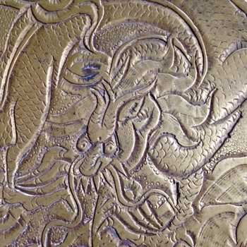 Vietnamese Water Dragon Brass Plate - Asian