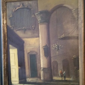 Antique Oil Painting Signed ~Pilar