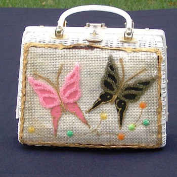 Beaded Butterfly Plastic Wicker Purse