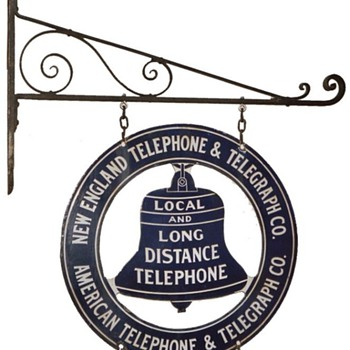New England Telephone &amp; Telegraph Co. Business Office Bracket Sign - Signs