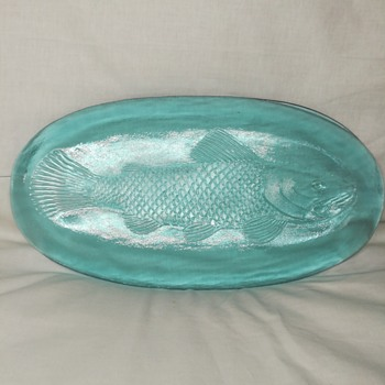 Blue glass fish tray server