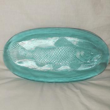 Blue glass fish tray server - Glassware
