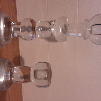 Chr. Sjogren Swedish crystal candle holders,  signed.