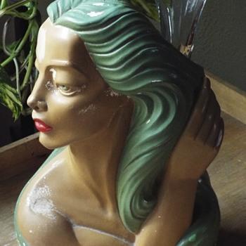 1940's Chalkware Polynesian Head Vase